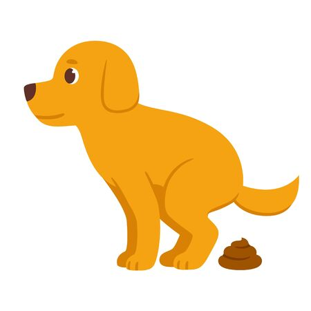 Cartoon dog pooping. Cute vector illustration of defecating dog.
