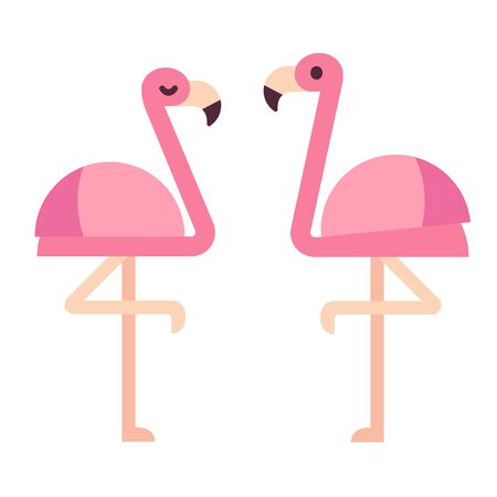 Pink flamingo in simple flat geometric style. Isolated vector clip art illustration.