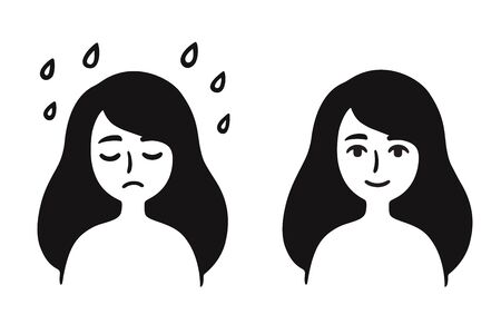 Young girl with sad, depressed face and normal, content expression. Black and white simple cartoon drawing. Overcoming depression and stress, mental health vector clip art illustration. Иллюстрация