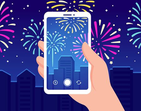 Hand holding smartphone recording fireworks over night city. Making video for social media of New years or Independence day celebration. Vector clip art illustration.