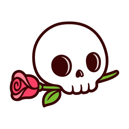 Cartoon skull with rose, traditional tattoo design in simple cute style. Isolated vector clip art illustration.