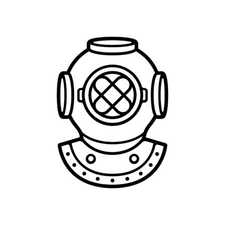 Vintage diver helmet black and white drawing. Retro deep sea diving symbol, isolated vector clip art illustration.