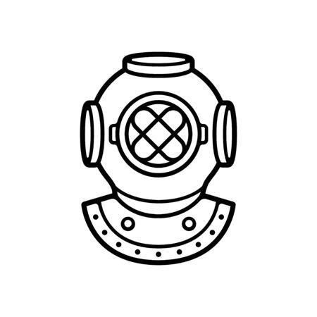 Vintage Taucherhelm Schwarz-Weiß-Zeichnung. Retro-Tiefseetauchen-Symbol, isolierte Vektor-ClipArt-Illustration.