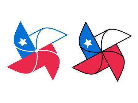 Cartoon pinwheel icon with Chile flag design. Classic wind toy symbol. Isolated vector clip art illustration.