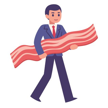 Bringing home the bacon, young businessman carrying strip of bacon. Cute cartoon style vector illustration of funny saying.