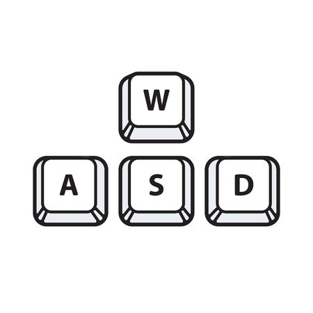 WASD keys, game control keyboard buttons. Gaming and cybersport symbol. Vector illustration.