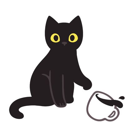 Cute black kitten throwing coffee cup off table. Funny cat breaking things comic illustration, cartoon vector drawing. Ilustração