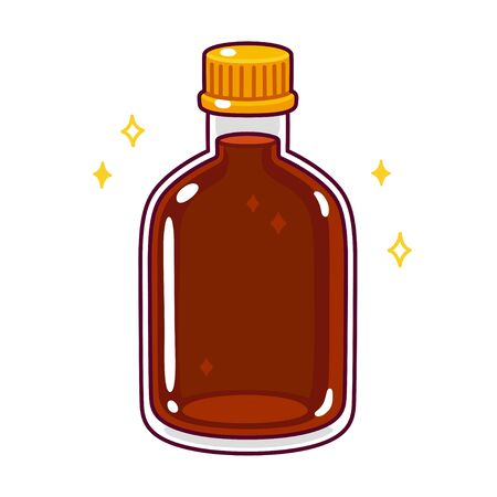 Cartoon bottle of syrup, sauce or liquor drawing. Dark liquid in glass bottle in cute hand drawn doodle style. Isolated vector illustration.