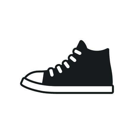 Classic black and white sneaker icon . Simple symbol of canvas sports shoe. Isolated vector clip art illustration. Çizim