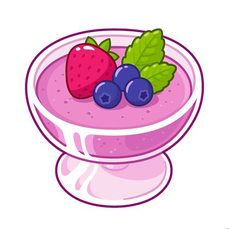 Berry mousse dessert in glass decorated with strawberry, blackberries and mint. Fruit pudding vector illustration in hand drawn cartoon style.