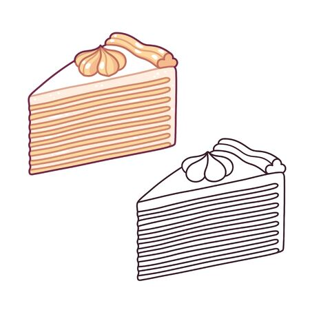 Napoleon cake, traditional mille-feuille pastry with many thin layers and cream frosting. Hand drawn cartoon style vector illustration. Color drawing and black and white line art. Imagens - 132109075