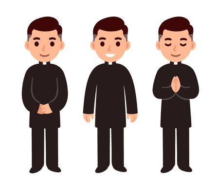 Carácter de sacerdote católico de dibujos animados lindo juego de dibujo, sonriendo y rezando. Ilustración aislada del arte del clip del vector de la profesión religiosa.