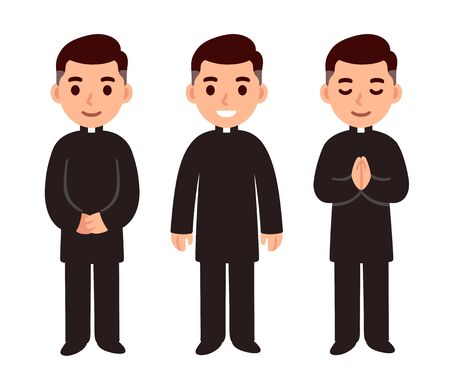Cute cartoon catholic priest character drawing set, smiling and praying. Isolated vector clip art illustration of religious profession.