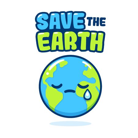 Save the planet, cute hand drawn eco activism poster. Cartoon Earth drawing with crying face. Earth Day vector clip art illustration.