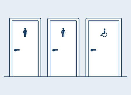 Männliche, weibliche und behinderte Toiletten, einfache und moderne flache Cartoon-Vektor-Illustration. Mann, Frau und Behinderte (Rollstuhl) Symbole an den Badezimmertüren. Vektorgrafik