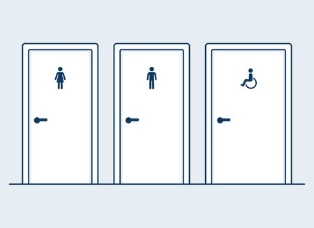 Male, female and disabled restrooms, simple and modern flat cartoon vector illustration. Man, Woman and handicapped (wheelchair) symbols on bathroom doors. Иллюстрация