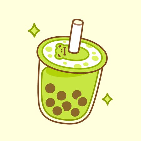 Cute cartoon green bubble tea cup drawing. Matcha milk smoothie with tapioca pearls and kawaii frog mascot. Hand drawn boba tea drink vector illustration.
