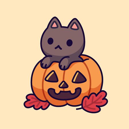 Cute black cat inside Halloween pumpkin with carved spooky face. Adorable kitten drawing, funny vector illustration.