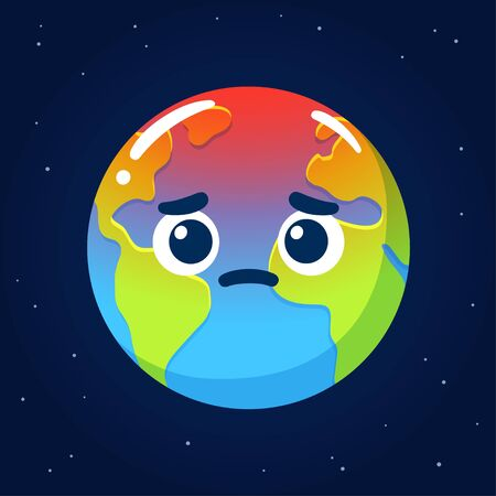 Global warming and climate crisis drawing. Cartoon Earth with worried face. Environment and ecology vector clip art illustration.  イラスト・ベクター素材