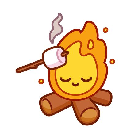 Cute cartoon drawing of bonfire with kawaii face and marshmallow toasting on stick. Simple camping fun illustration, isolated vector clip art.