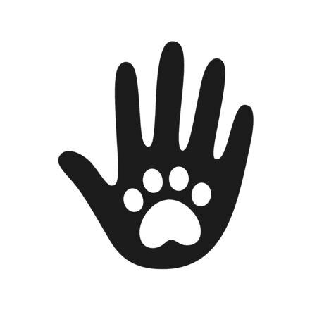 Palmo della mano umana con simbolo di stampa della zampa di cane o gatto. Cura veterinaria degli animali domestici, adozione di un rifugio o elemento di design del logo di beneficenza per animali. Illustrazione vettoriale di mano amica. Logo