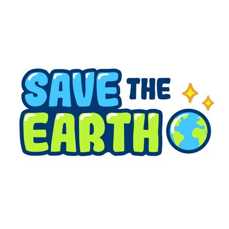 Save the Earth hand drawn cartoon text lettering. Earth Day poster, vector clip art illustration. Ilustração