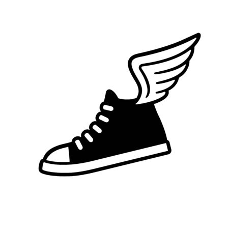 Sneaker with wings logo, black and white drawing. Classic sports shoe vector illustration.