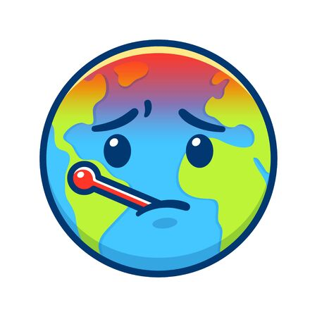Cartoon Earth with thermometer having fever. Global warming and climate change drawing. Environment and ecology vector clip art illustration. Ilustração