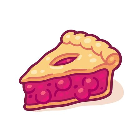 Cute cartoon cherry pie drawing. Hand drawn slice of traditional fruit pie. Isolated vector illustration.