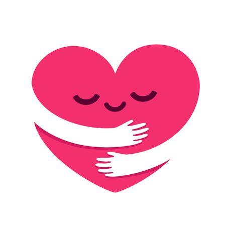 Ámate a ti mismo, abrazo de personaje de dibujos animados lindo corazón. Corazón kawaii con brazos abrazados. Ilustración de vector de autocuidado y felicidad.