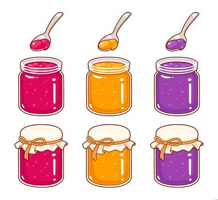 Ensemble de pots de confiture de style dessin animé dessinés à la main. Gelée de framboises, abricots et raisins, confitures de fruits artisanales artisanales. Illustration vectorielle isolée de clip art. Vecteurs
