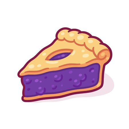 Cute cartoon blueberry pie drawing. Hand drawn slice of traditional berry pie. Isolated vector illustration. Ilustracja