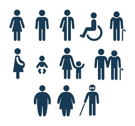 People figures icon set. Bathroom gender signs and health conditions symbols. Adults and child care, senior and disabled assistance. Medical or navigation pictograms.