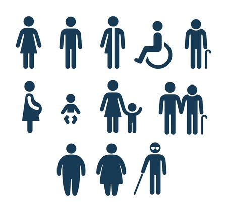 Conjunto de iconos de figuras de personas. Signos de género de baño y símbolos de condiciones de salud. Cuidado de adultos y niños, personas mayores y discapacitadas. Pictogramas médicos o de navegación.