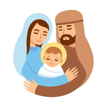 Christmas Nativity illustration with Mary and Joseph hugging baby Jesus. Cute and simple cartoon vector drawing.
