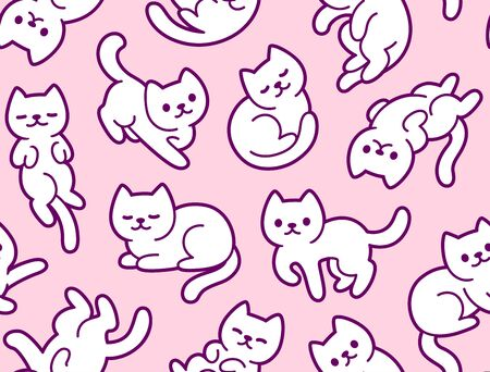 Cute cartoon cats seamless texture. Hand drawn kawaii white kitties in different poses on pink background. Cat pattern illustration.