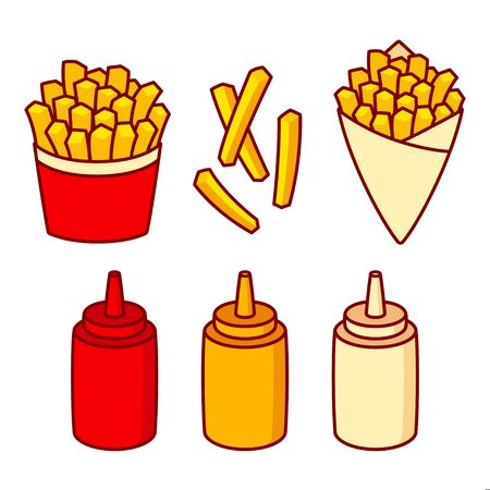 French fries cartoon illustration set. Potato fries in fast food box and paper cone with sauce squirt bottles: ketchup, mayonnaise and mustard. Isolated vector clip art.