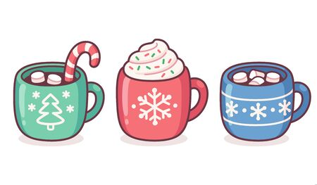 Christmas hot chocolate and coffee cup set. Warm seasonal drinks with candy cane, whipped cream, marshmallows and sprinkles. Cute cartoon vector illustration.