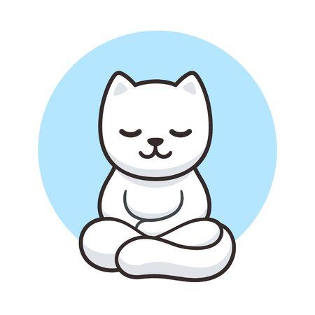 Méditation de chat zen, dessin animé simple. Chat blanc mignon méditant en position du lotus, illustration vectorielle clip art.