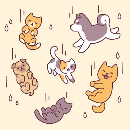 It's raining cats and dogs, funny expression illustration. Cute cartoon pets falling with rain. Adorable vector clip art drawing.