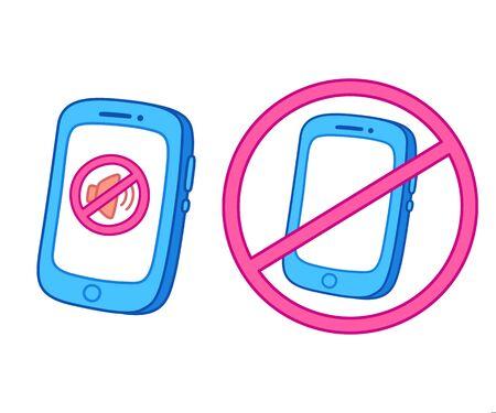 Smartphone en mode silencieux et panneau d'avertissement pour éteindre le téléphone. Pas de son, de silence et de symbole d'interdiction de téléphone. Illustration vectorielle de style dessin animé.