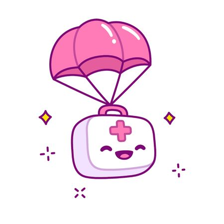 Cute cartoon first aid kit falling with parachute, medical supplies box with kawaii character face. Isolated vector clip art illustration. Zdjęcie Seryjne - 134558176