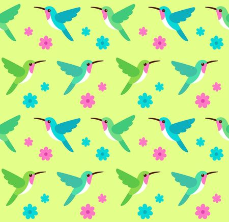 Hummingbirds and flowers seamless pattern. Floral background with colibri birds, tropical nature vector illustration. Illustration