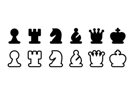 Chess pieces icon set, black and white chess figures. Simple stylized symbols, isolated vector illustration.