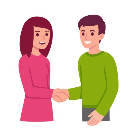 Young man and woman shaking hands. Social meeting and communication. Simple flat cartoon style vector clip art illustration.
