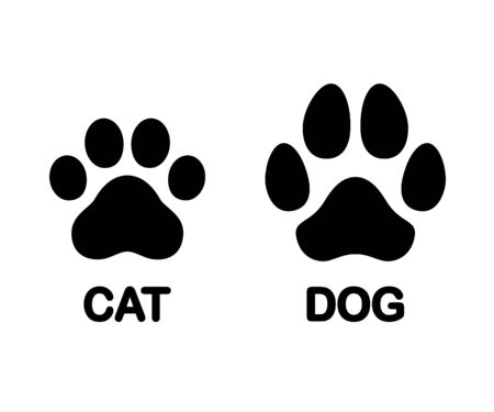 Dog and cat paw print symbol. Black and white silhouette icon or logo design element. Isolated vector clip art illustration.