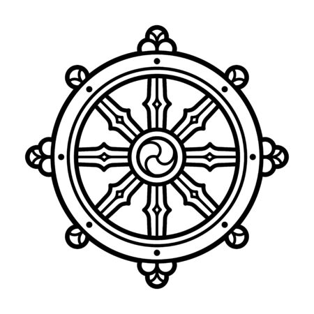 Dharmachakra (Dharma Wheel) symbol in Buddhism. Black and white line icon, tattoo design. Isolated vector clip art illustration. Vettoriali