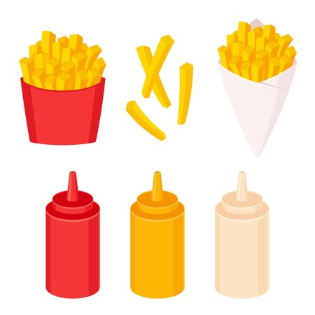 French fries vector illustration set. Potato fries in fast food box and paper cone with sauce squirt bottles: ketchup, mayonnaise and mustard. Ilustrace