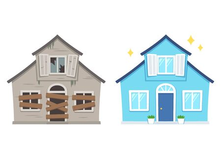 Fixer Oberhaussanierung vor und nach. Altes heruntergekommenes Haus, das in ein hübsches traditionelles Vorstadthaus umgebaut wurde. Lokalisierte Vektorillustration, flache Karikaturart. Vektorgrafik