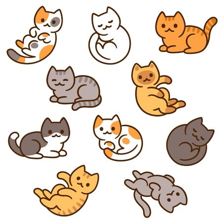 Cute cartoon cat drawing set, different breeds and colors. Hand drawn kitty doodles in simple kawaii style, vector clip art illustration.